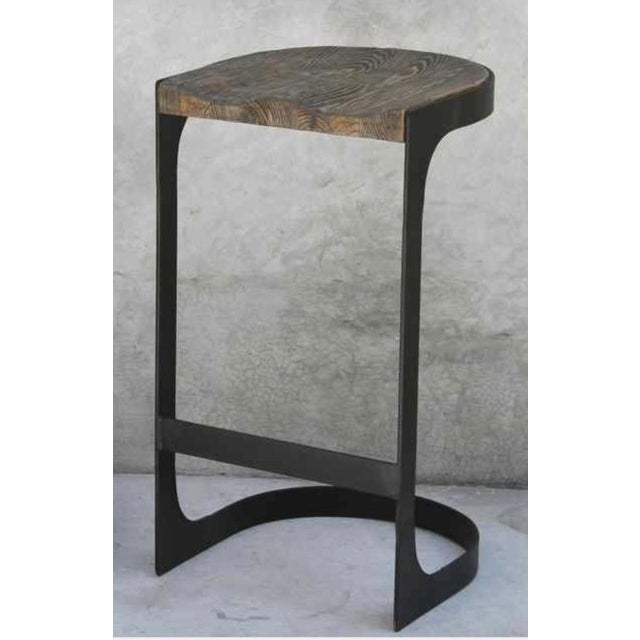 Rustic Wood and Iron Bar Stools - A Pair - Image 4 of 4