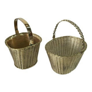 Pair of Polished Brass Orchid Baskets in the Manner of Gabriella Crespi For Sale