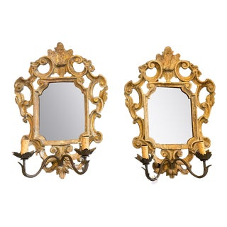 18th Century Louis XVI Gilded Wooden Mirrors with Two Lights - A Pair For Sale