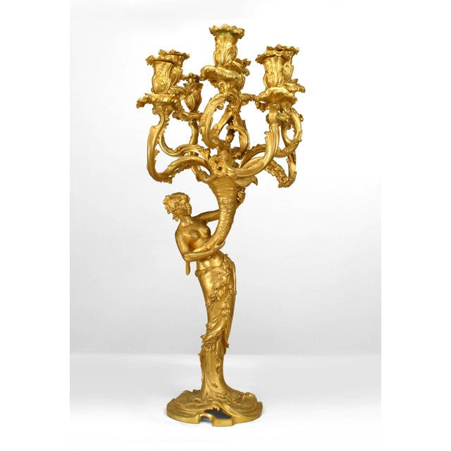 Mid 19th Century Pair of French Louis XV Style Bacchus and Bacchante Nine-Arm Candelabra For Sale - Image 5 of 5