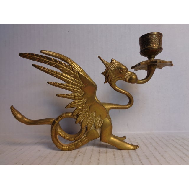 Brass Dragon Candlesticks - Pair For Sale - Image 4 of 6