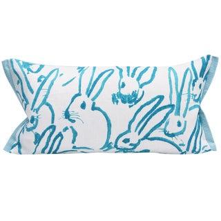 Contemporary Hutch Print Aqua Bunny Fabric Lumbar Pillow - 11x21 For Sale