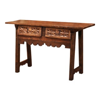 18th Century Spanish Carved Walnut Trestle Console Sofa Table With Drawers For Sale