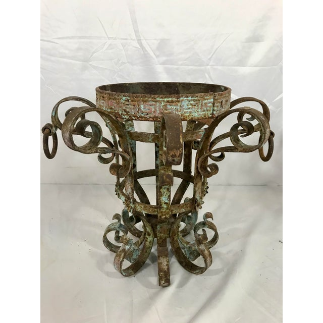 Metal Wrought Iron Fretwork Planters a Pair For Sale - Image 7 of 13