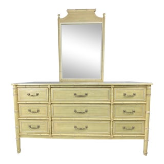 "1960s Henry Link ""Bali Hai"" Faux Bamboo Dresser With Mirror For Sale"