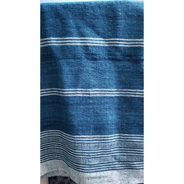 Late 20th Century Indigo With Shell Kutch Throw For Sale - Image 5 of 7