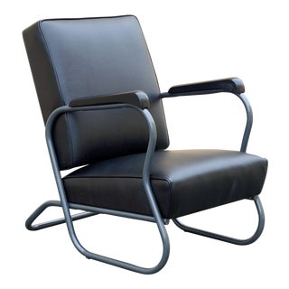 1930s Art Deco Leather and Steel Armchair For Sale
