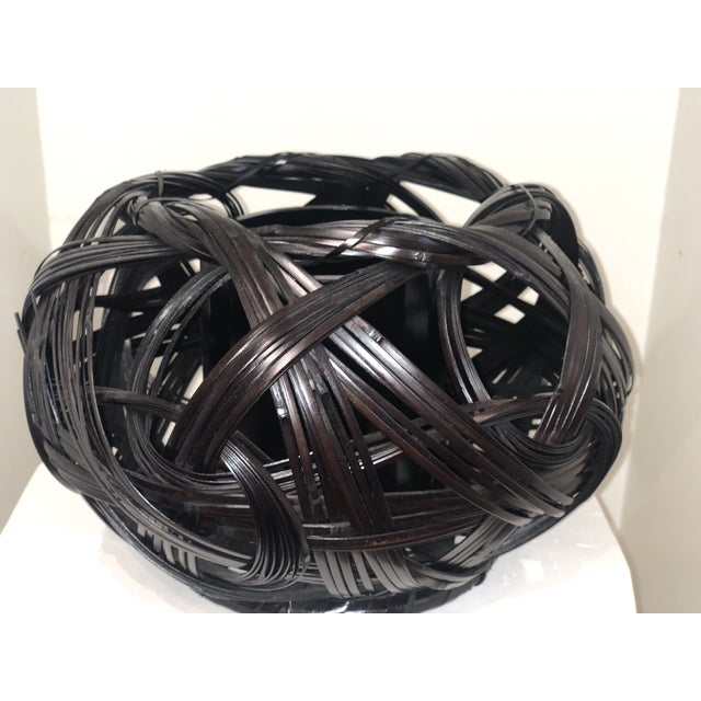 Japanese Style Bamboo Flower Basket For Sale - Image 4 of 4