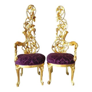 Italian Baroque Purple Upholstered Gold Leaf Chairs - a Pair For Sale