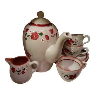 """Vintage Rare Gray Floral Painted Stangl """"Garland"""" Tea Service - 15 Pieces For Sale"""