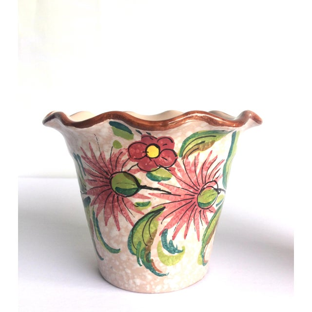 Two Vintage Frantelli Fanciullacci Italian pottery vases. Lovely color palette of white, cream, pinks, blush, greens,...