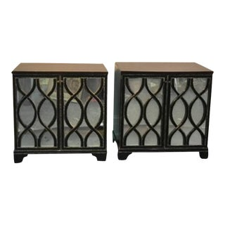 James Mont Inspired Mirrored Commodes - A Pair
