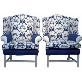 Oversized Blue & White Blossom Chairs A Pair For Sale