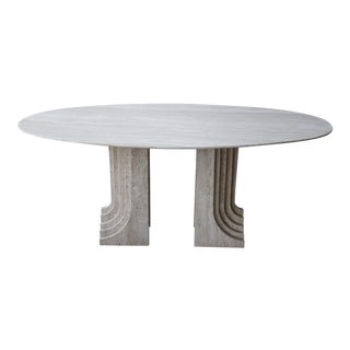 Italian Travertine Double Pedestal Dining Table by Carlo Scarpa For Sale