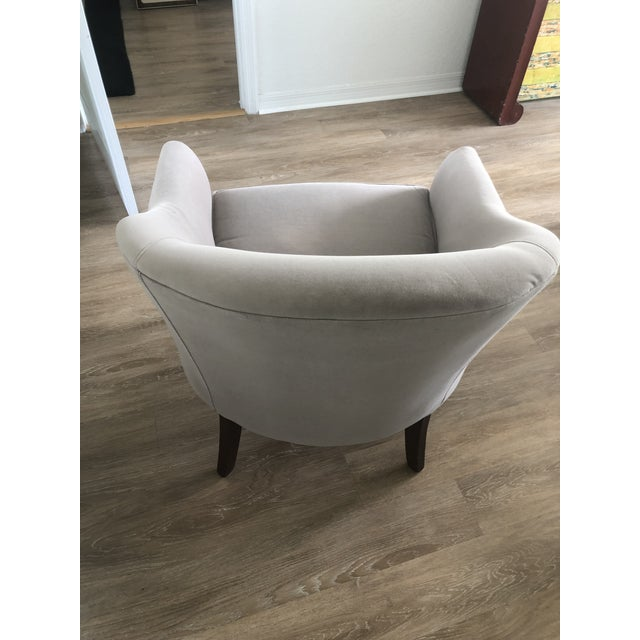 Custom Made Gray Velvet Deco Barrel Chair For Sale In West Palm - Image 6 of 7