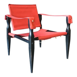 1980's Red Safari Chair For Sale