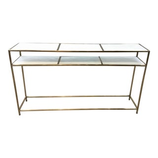 Regina Andrew Contemporary Brass Finished White Stone Console Table For Sale