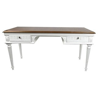 Vintage Neoclassical Fluted Arched Coved Desk With Bookmatched Butterfly Top For Sale
