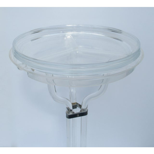 Chrome Dorothy Thorpe Lucite Server Stand With Server Platter & Insert - 3 Pieces For Sale - Image 7 of 13