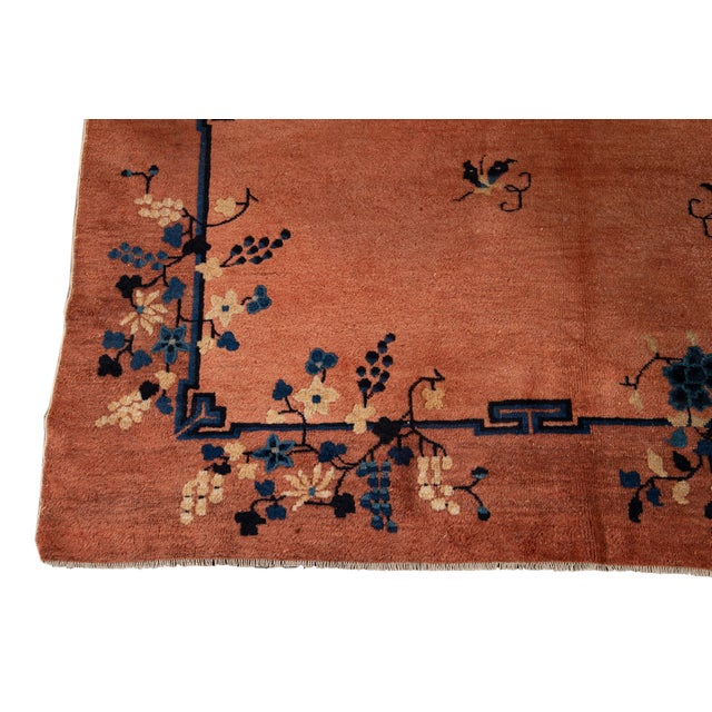 Burnt Orange Early 20th Century Antique Art Deco Chinese Wool Rug 9 X 15 For Sale - Image 8 of 13