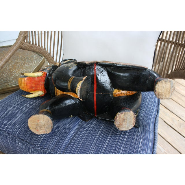 1930s Antique Hand-Painted and Carved Wooden Elephant For Sale - Image 5 of 12