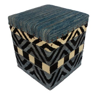 Deloise Blue/Ivory Kilim Upholstered Handmade Storage Ottoman For Sale