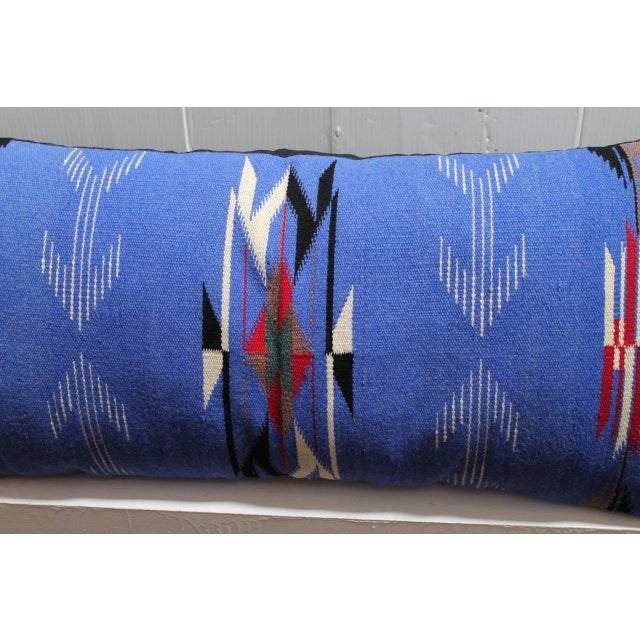 Primitive Mexican-American, Chimayo-Indian Weaving Bolster Pillow For Sale - Image 3 of 5