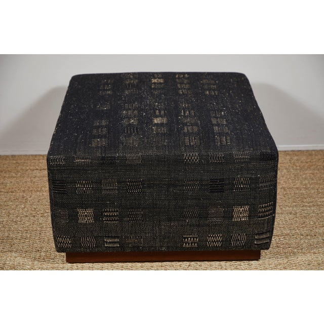 2010s Handwoven Indian Fabric Upholstered Ottoman For Sale - Image 5 of 10