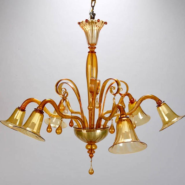 Large venini amber murano glass six arm chandelier chairish large venini amber murano glass six arm chandelier image 3 of 8 aloadofball Image collections