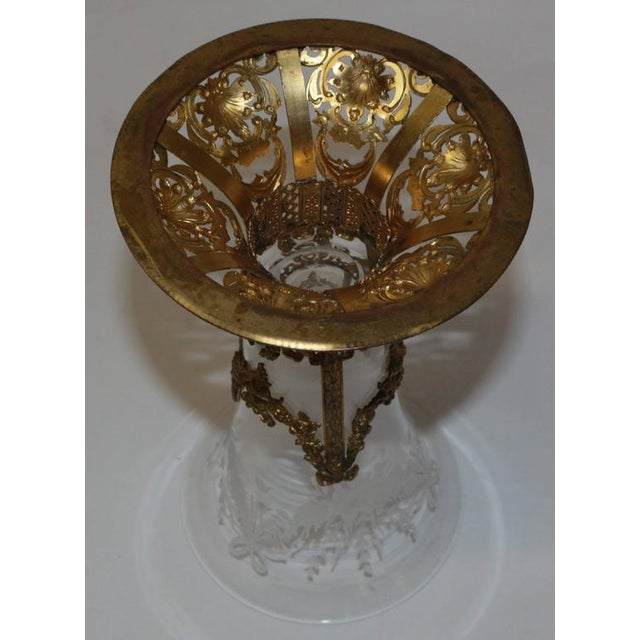 19th Century French Ormolu Metal Etched Glass - Image 3 of 10
