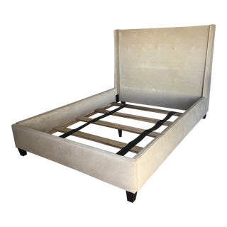 Crate & Barrel Queen Tufted Upholstered Bedframe For Sale