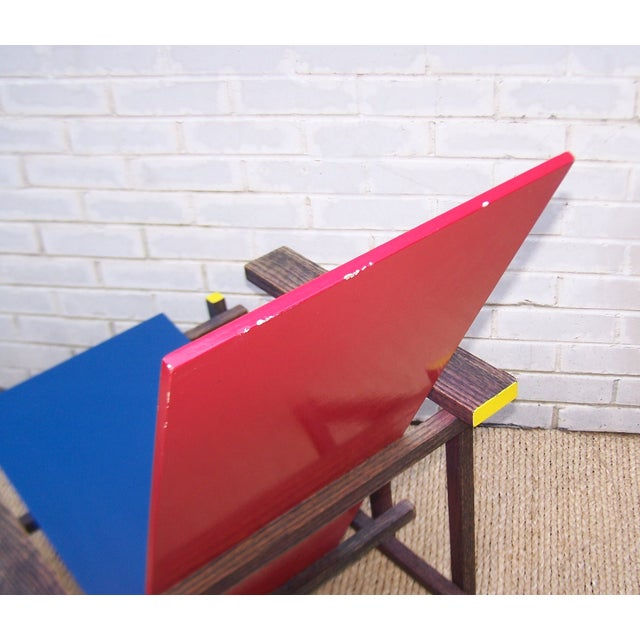 Gerrit Rietveld Style Red & Blue Chair For Sale - Image 11 of 11