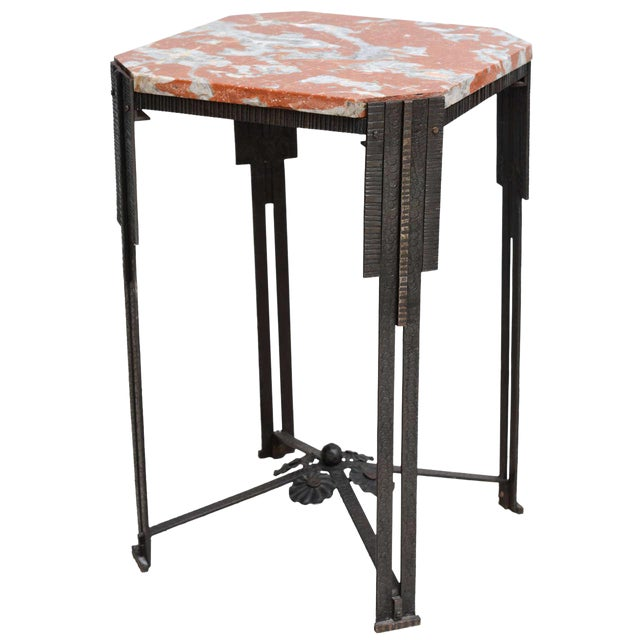 Art Deco Hammered Steel and Marble-Top Table, France, 1930s For Sale