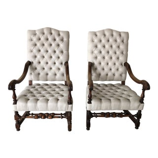 Beige Tufted Chairs - A Pair For Sale