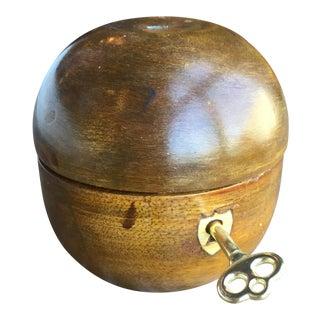 Hand Carved Antique Wood Apple Lockbox For Sale