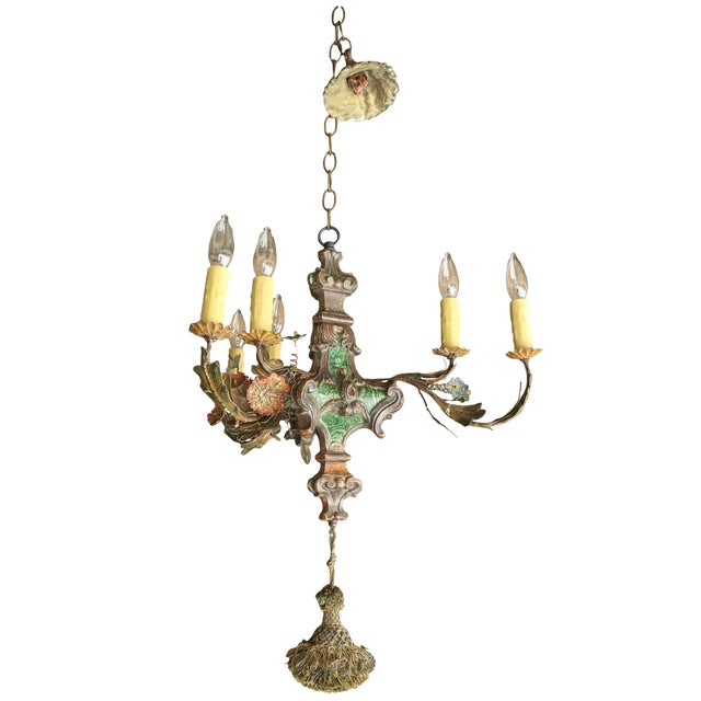 Small Faux Malachite Chandelier For Sale