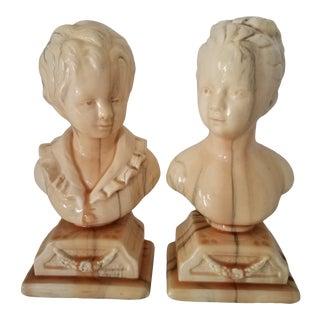 Vintage Alexander Backer Houdons Des Enfants Alabaster Reproduction Busts - a Pair For Sale