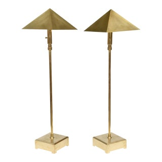 American Pair of Brass Adjustable Table or Floor Lamps, Chapman For Sale