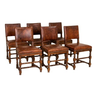 Set of 6 Antique Dining Chairs With Vintage Leather, Denmark For Sale