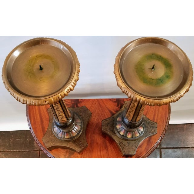 Vintage John-Richard Associates Painted Weighted Large Candlesticks Jra 4809 - a Pair For Sale - Image 9 of 13