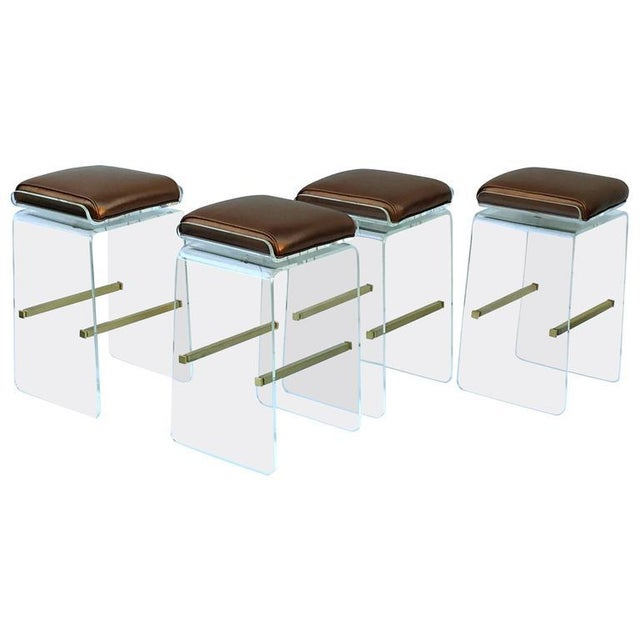 Gold Swivel Acrylic and Brushed Brass Barstools by Charles H. Jones - Set of 4 For Sale - Image 8 of 8