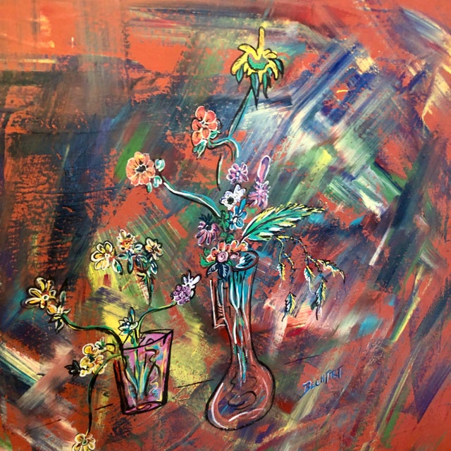 A large mid century abstract floral oil painting on canvas. Signed BECHT (.) RT.