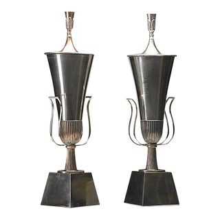1940s Silver Plated Tommi Parzinger Urn Lamps - a Pair For Sale