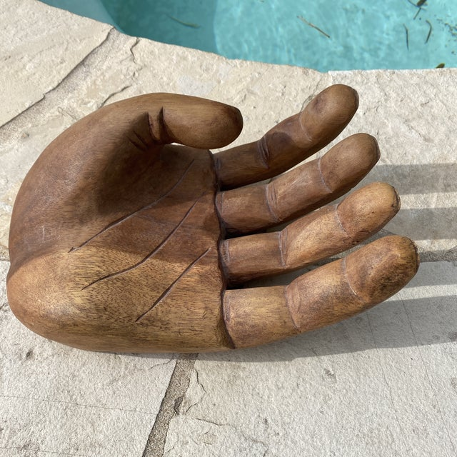 Brown 1960s Mid Century Wooden Human Hand Sculpture For Sale - Image 8 of 12
