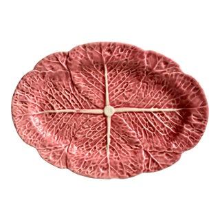 "Pink Cabbage Leaf 15""Majolica Platter-Bordallo Pinheiro For Sale"