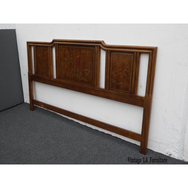 Vintage Drexel Heritage Mid-Century Modern Floral Chinoiserie King Headboard - Image 3 of 11