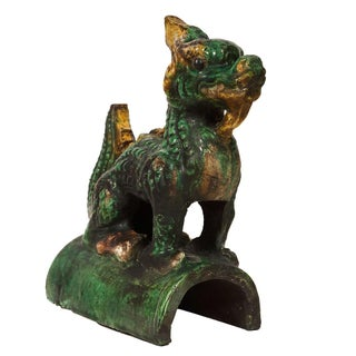 Vintage Chinese Glazed Ceramic Dragon Roof Tile Preview