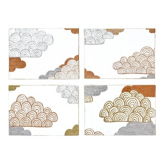 Contemporary Gold and Silver Gilt Clouds Paintings - Set of 4 For Sale