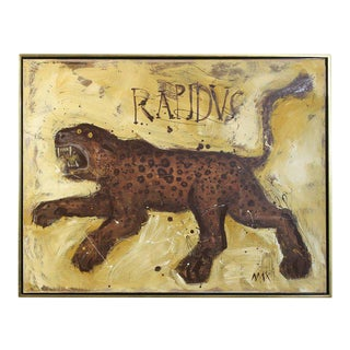 Large Contemporary Mixed Media Leopard Painting For Sale