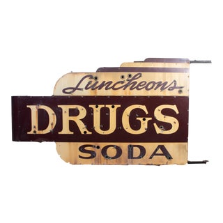 1910s Industrial Soda Fountain & Drug Store Sign For Sale